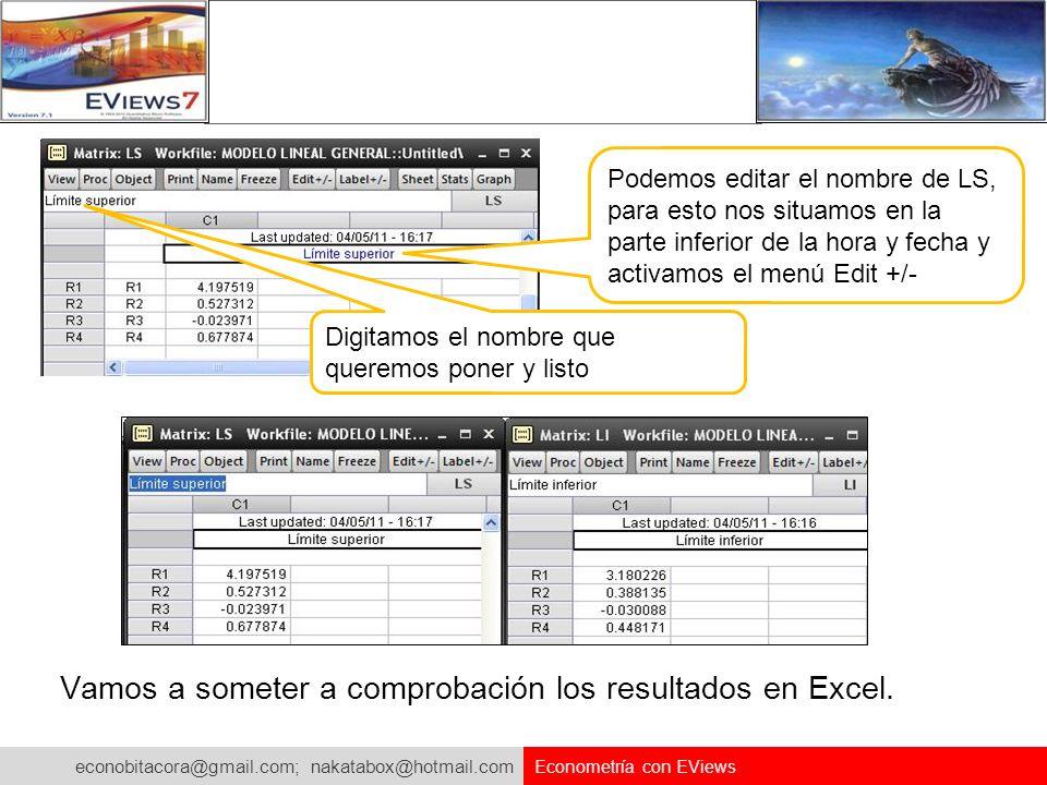 econobitacora@gmail.com; nakatabox@hotmail.com Econometría con EViews Podemos editar el nombre de LS, para esto nos situamos en la parte inferior de l