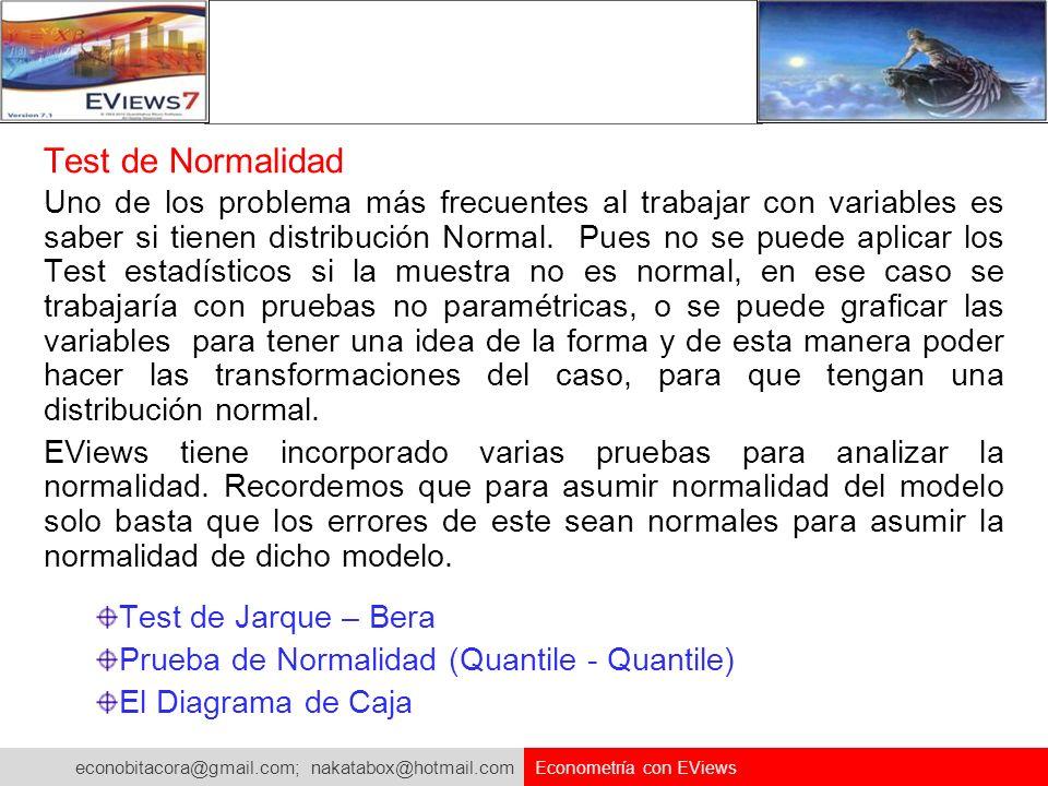 econobitacora@gmail.com; nakatabox@hotmail.com Econometría con EViews Test de Normalidad Uno de los problema más frecuentes al trabajar con variables