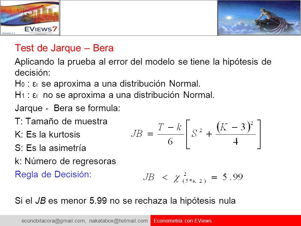 econobitacora@gmail.com; nakatabox@hotmail.com Econometría con EViews Test de Jarque – Bera Aplicando la prueba al error del modelo se tiene la hipóte