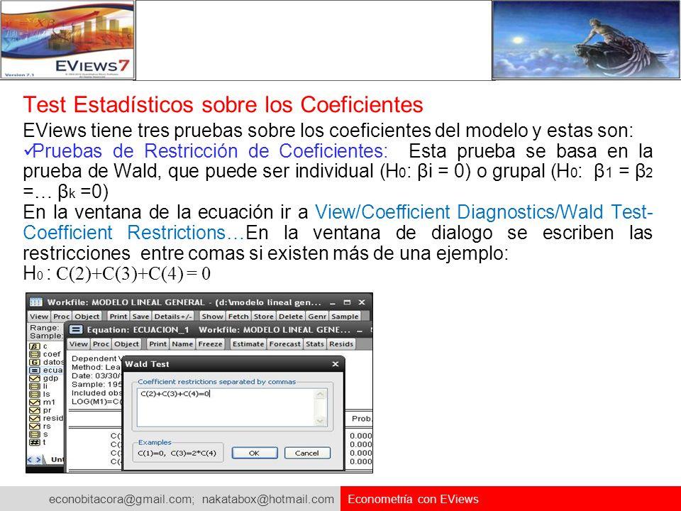 econobitacora@gmail.com; nakatabox@hotmail.com Econometría con EViews Test Estadísticos sobre los Coeficientes EViews tiene tres pruebas sobre los coe