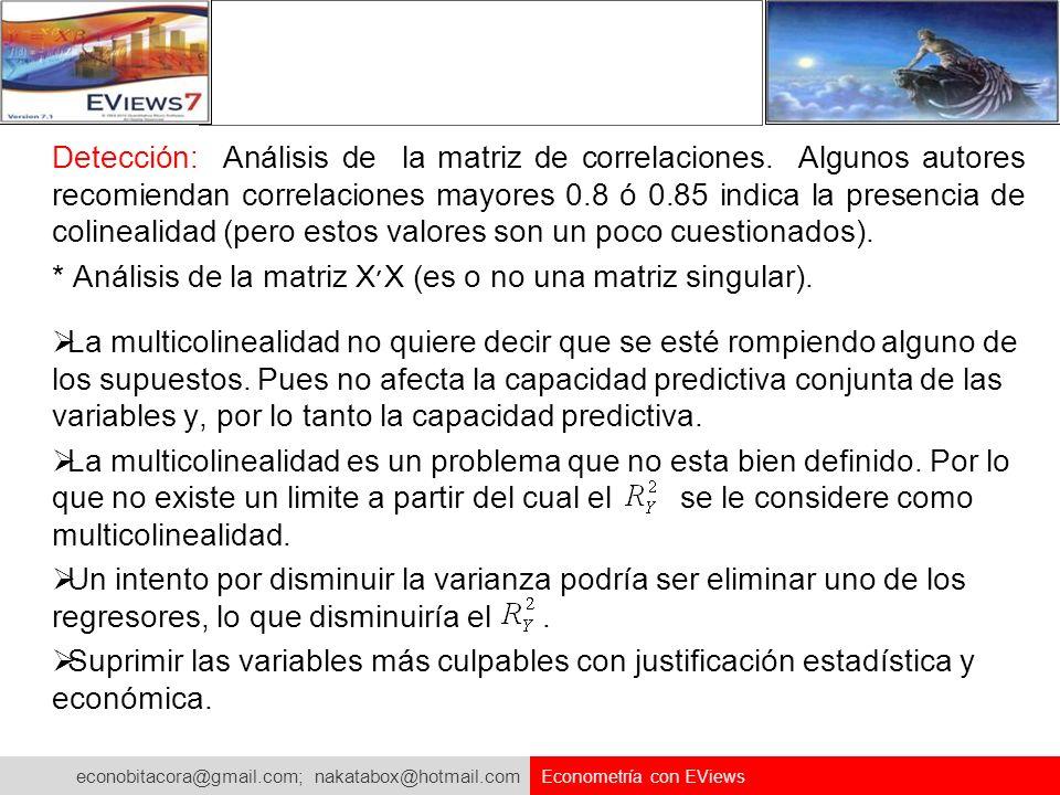econobitacora@gmail.com; nakatabox@hotmail.com Econometría con EViews Detección: Análisis de la matriz de correlaciones. Algunos autores recomiendan c