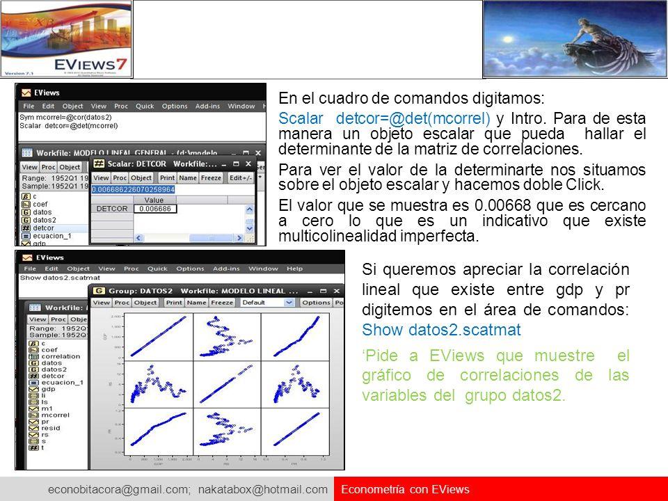 econobitacora@gmail.com; nakatabox@hotmail.com Econometría con EViews En el cuadro de comandos digitamos: Scalar detcor=@det(mcorrel) y Intro. Para de