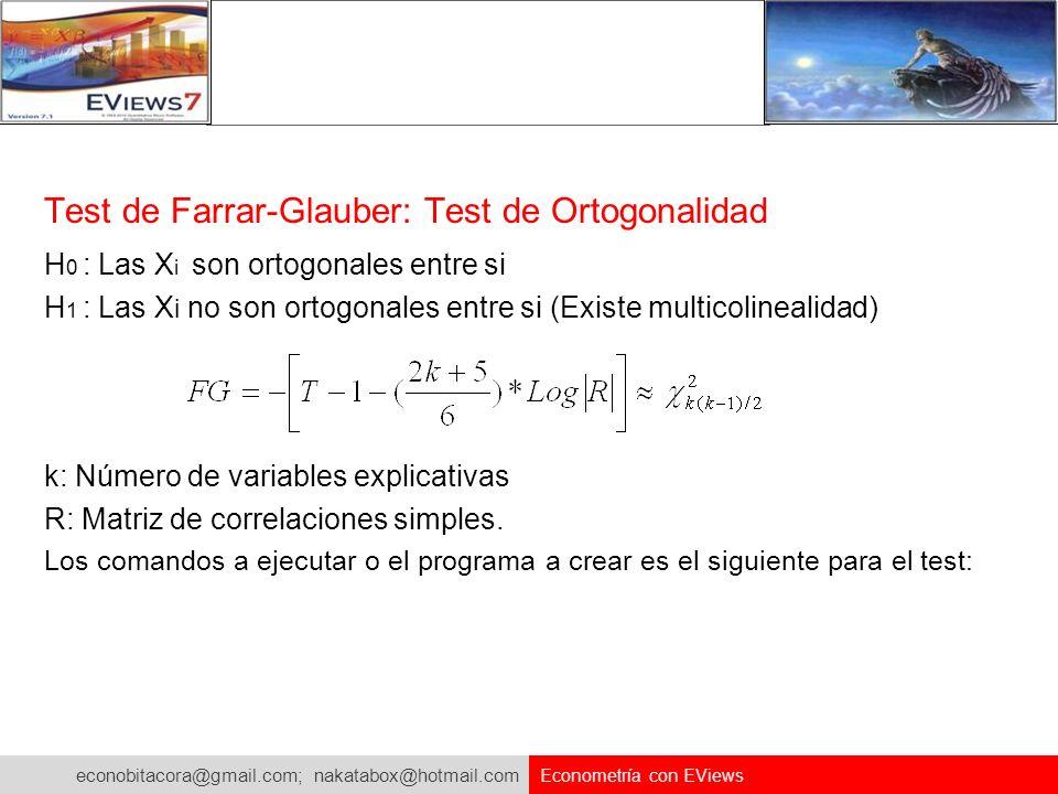 econobitacora@gmail.com; nakatabox@hotmail.com Econometría con EViews Test de Farrar-Glauber: Test de Ortogonalidad H 0 : Las X i son ortogonales entr