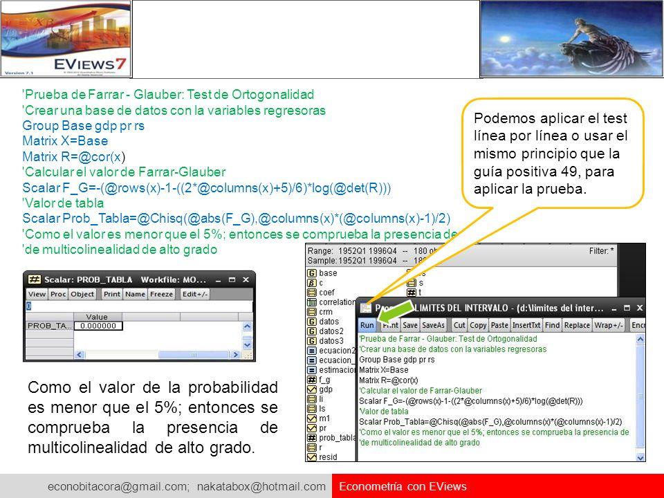 econobitacora@gmail.com; nakatabox@hotmail.com Econometría con EViews 'Prueba de Farrar - Glauber: Test de Ortogonalidad 'Crear una base de datos con