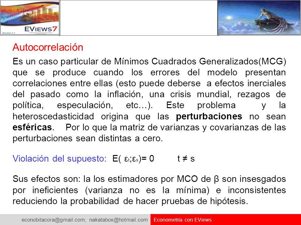 econobitacora@gmail.com; nakatabox@hotmail.com Econometría con EViews Autocorrelación Es un caso particular de Mínimos Cuadrados Generalizados(MCG) qu