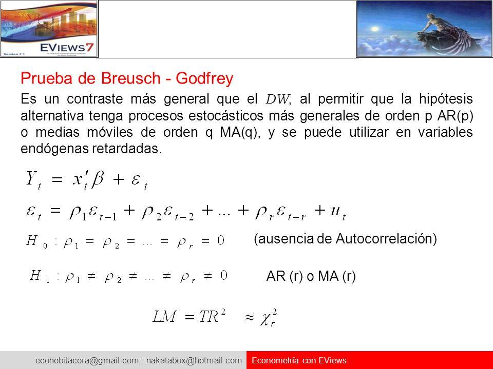 econobitacora@gmail.com; nakatabox@hotmail.com Econometría con EViews Prueba de Breusch - Godfrey Es un contraste más general que el DW, al permitir q
