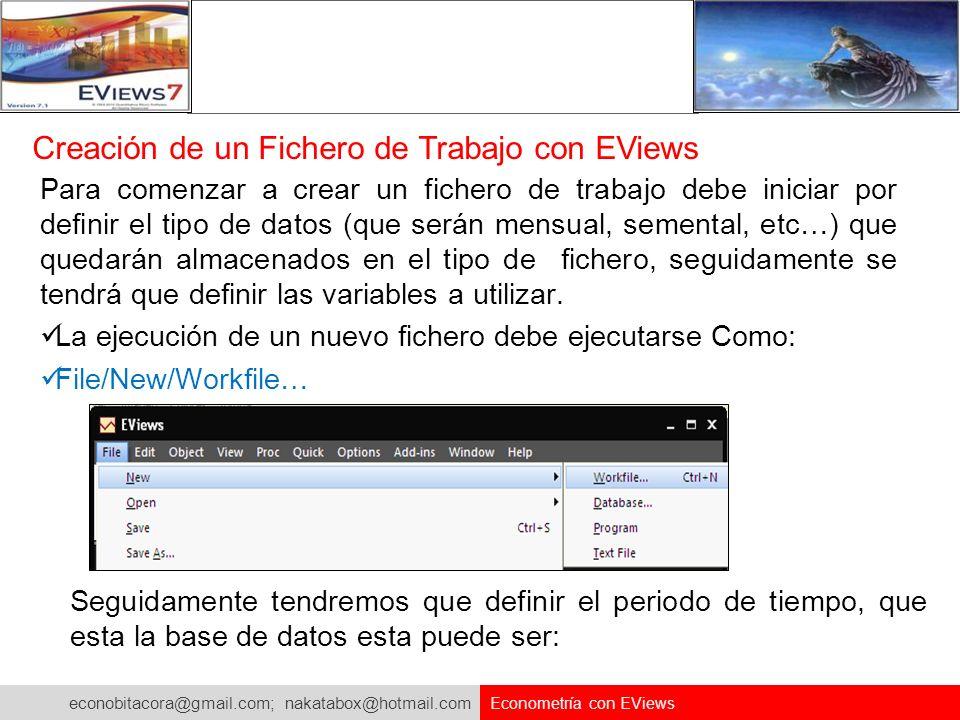 econobitacora@gmail.com; nakatabox@hotmail.com Econometría con EViews Para comenzar a crear un fichero de trabajo debe iniciar por definir el tipo de