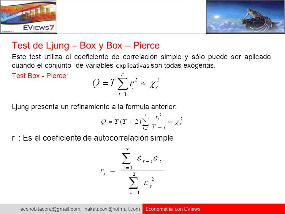 econobitacora@gmail.com; nakatabox@hotmail.com Econometría con EViews Test de Ljung – Box y Box – Pierce Este test utiliza el coeficiente de correlaci