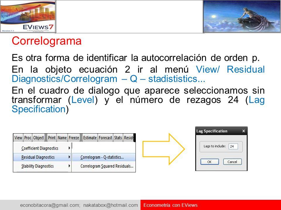 econobitacora@gmail.com; nakatabox@hotmail.com Econometría con EViews Correlograma Es otra forma de identificar la autocorrelación de orden p. En la o