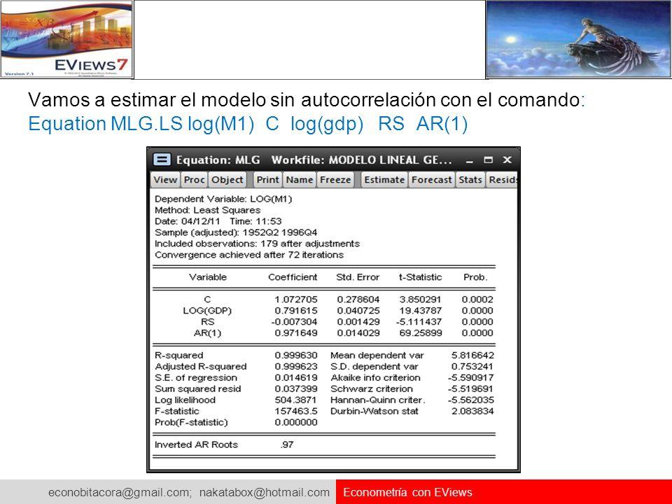 econobitacora@gmail.com; nakatabox@hotmail.com Econometría con EViews Vamos a estimar el modelo sin autocorrelación con el comando: Equation MLG.LS lo