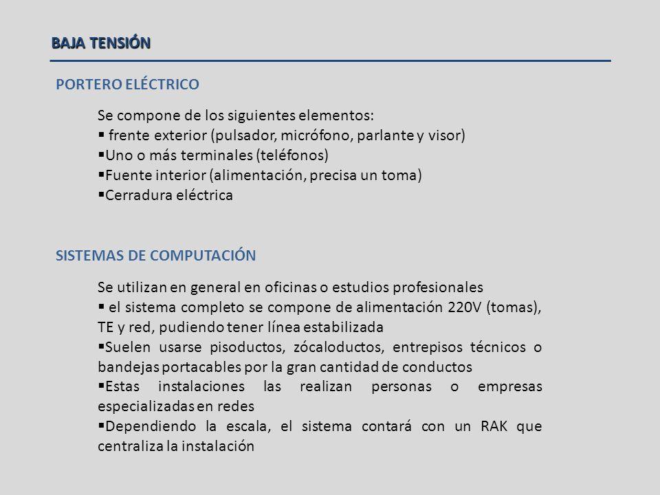 BAJA TENSIÓN Requieren de una empresa especializada (alarmas y seguridad) y el electricista solo realizará el tendido de la cañería.