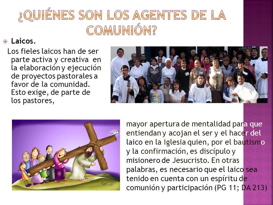 Laicos. Los fieles laicos han de ser parte activa y creativa en la elaboración y ejecución de proyectos pastorales a favor de la comunidad. Esto exige