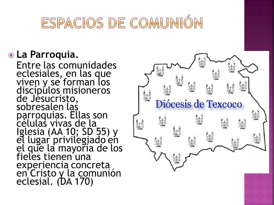 La Parroquia. Entre las comunidades eclesiales, en las que viven y se forman los discípulos misioneros de Jesucristo, sobresalen las parroquias. Ellas