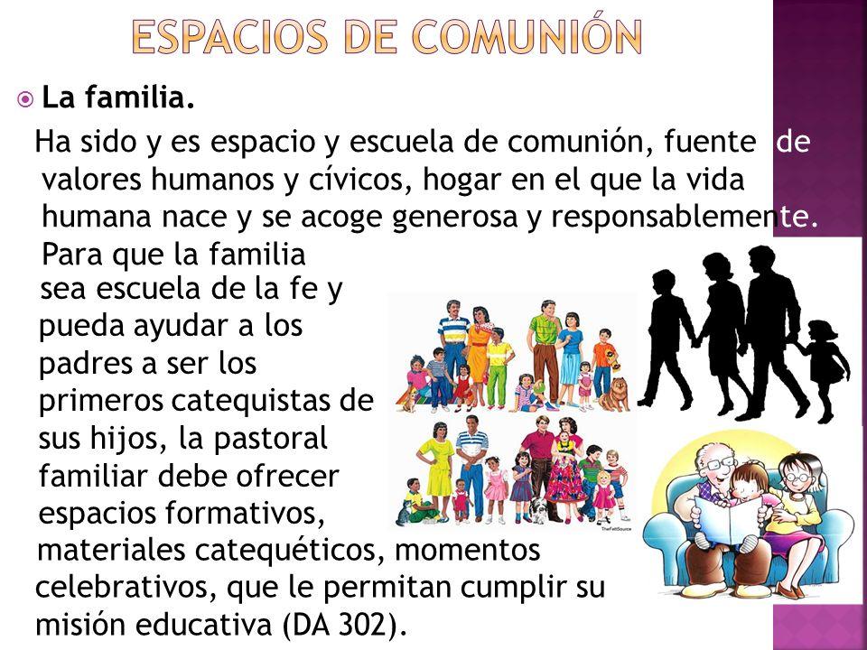 La familia. Ha sido y es espacio y escuela de comunión, fuente de valores humanos y cívicos, hogar en el que la vida humana nace y se acoge generosa y