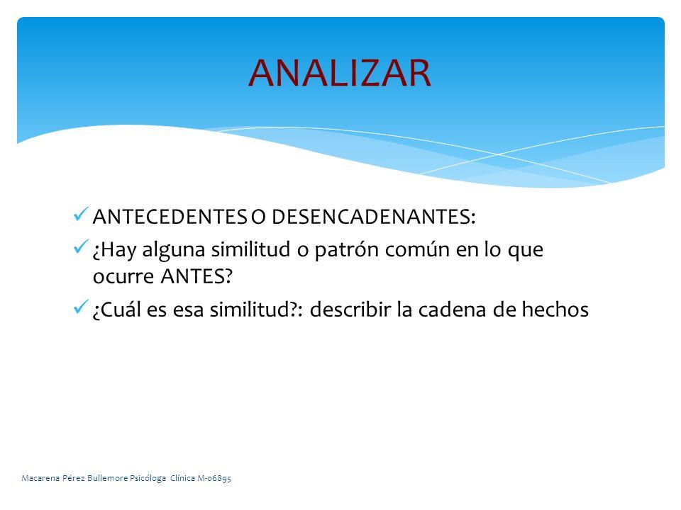 ANTECEDENTES O DESENCADENANTES: ¿Hay alguna similitud o patrón común en lo que ocurre ANTES.