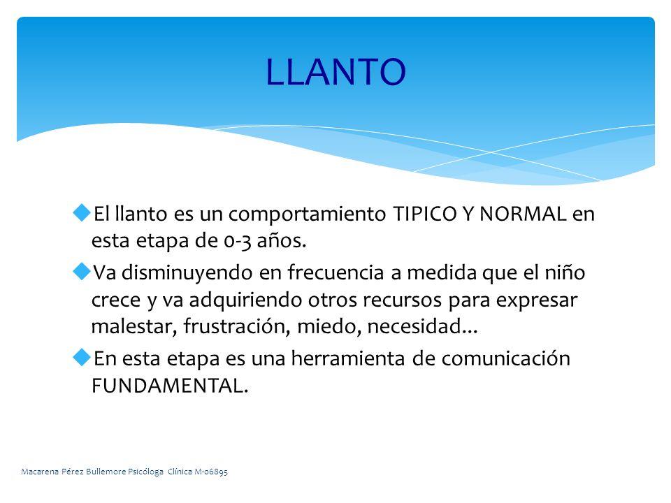 El llanto es un comportamiento TIPICO Y NORMAL en esta etapa de 0-3 años.