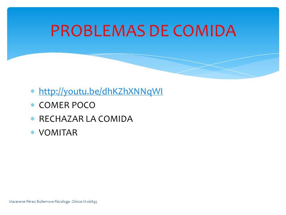 http://youtu.be/dhKZhXNNqWI COMER POCO RECHAZAR LA COMIDA VOMITAR PROBLEMAS DE COMIDA Macarena Pérez Bullemore Psicóloga Clínica M-06895