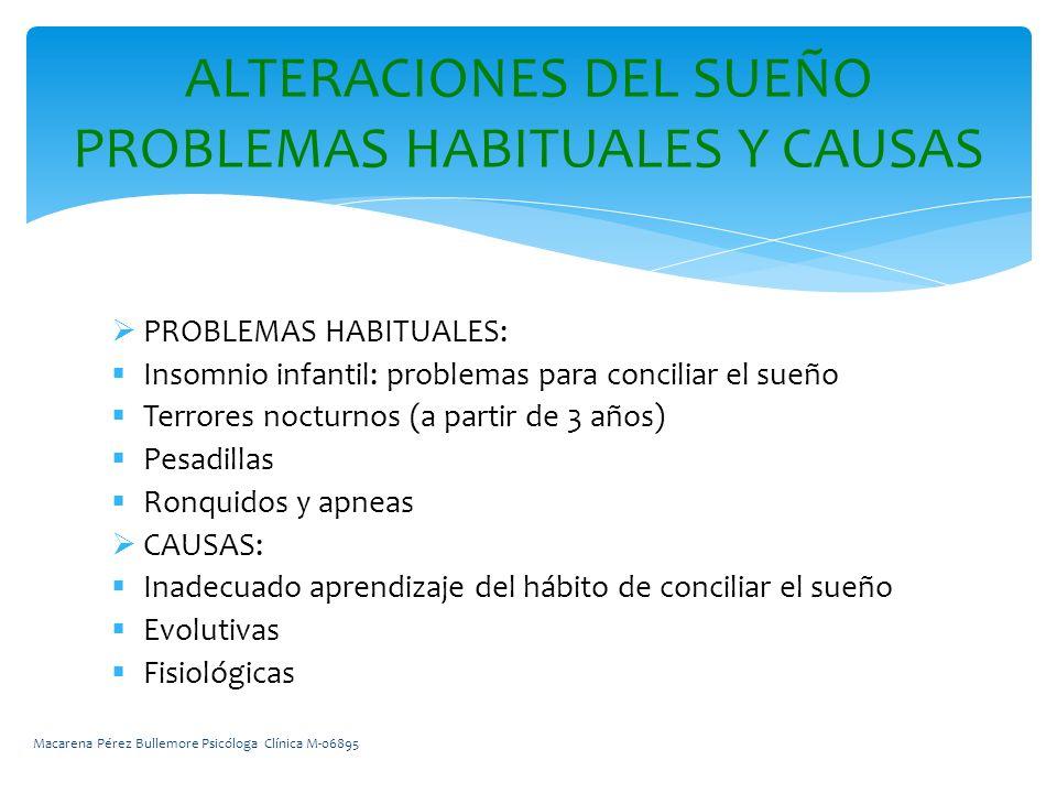 PROBLEMAS HABITUALES: Insomnio infantil: problemas para conciliar el sueño Terrores nocturnos (a partir de 3 años) Pesadillas Ronquidos y apneas CAUSAS: Inadecuado aprendizaje del hábito de conciliar el sueño Evolutivas Fisiológicas ALTERACIONES DEL SUEÑO PROBLEMAS HABITUALES Y CAUSAS Macarena Pérez Bullemore Psicóloga Clínica M-06895
