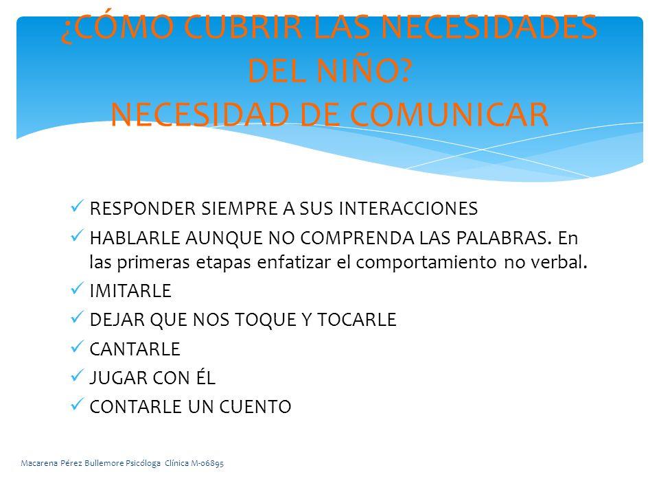 RESPONDER SIEMPRE A SUS INTERACCIONES HABLARLE AUNQUE NO COMPRENDA LAS PALABRAS.