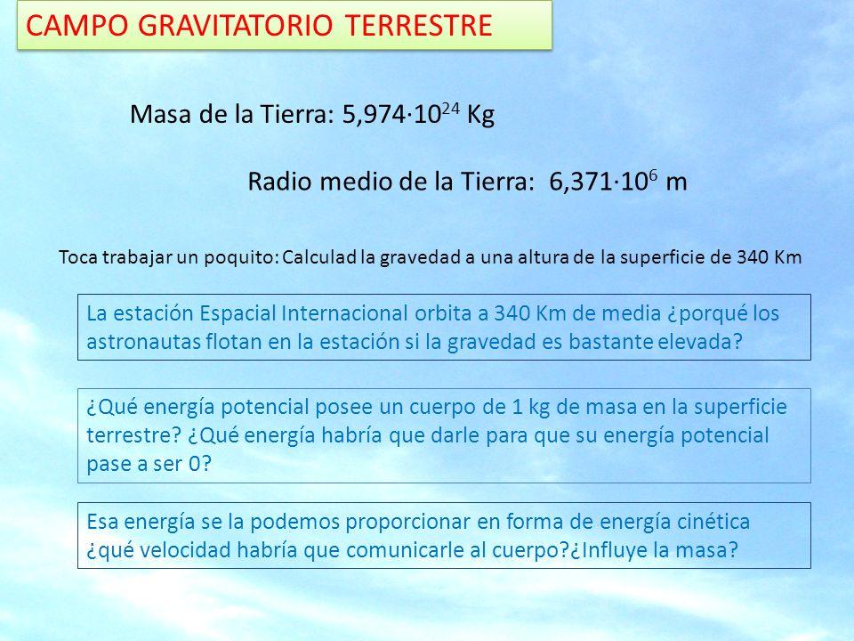 CAMPO GRAVITATORIO TERRESTRE Masa de la Tierra: 5,974·10 24 Kg Radio medio de la Tierra: 6,371·10 6 m Toca trabajar un poquito: Calculad la gravedad a una altura de la superficie de 340 Km La estación Espacial Internacional orbita a 340 Km de media ¿porqué los astronautas flotan en la estación si la gravedad es bastante elevada.