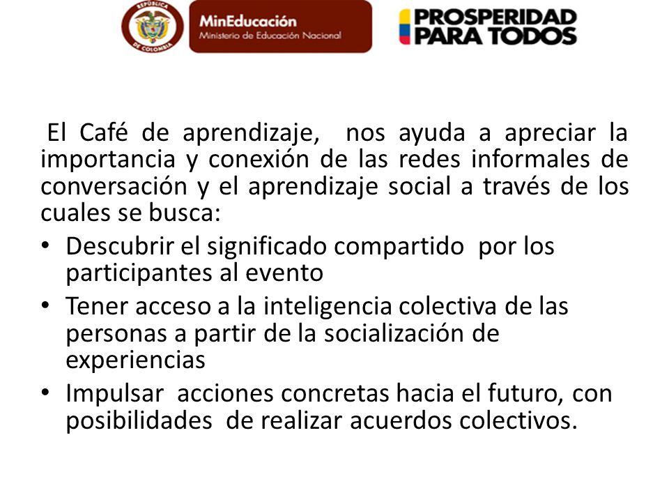 Café de aprendizaje. El café de aprendizaje, es una herramienta de construcción de sentido que se basa en una conversación intencional donde se compar