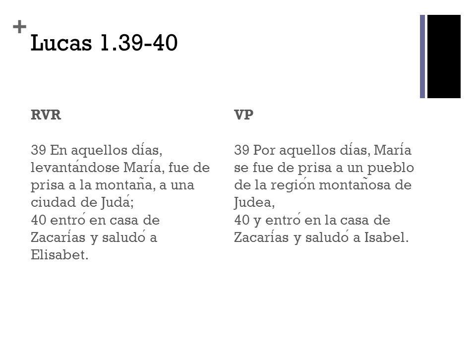 + Lucas 1.39-40 RVR 39 En aquellos dias, levantandose Maria, fue de prisa a la montan ̃ a, a una ciudad de Juda; 40 entro en casa de Zacarias y saludo