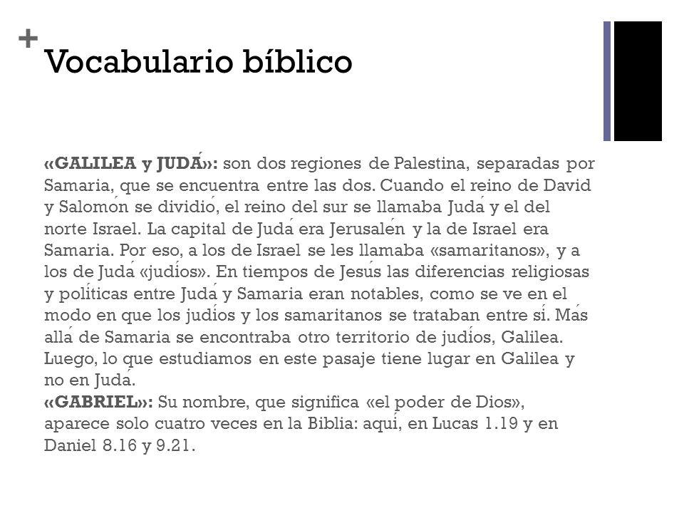 + Vocabulario bíblico «GALILEA y JUDA»: son dos regiones de Palestina, separadas por Samaria, que se encuentra entre las dos. Cuando el reino de David