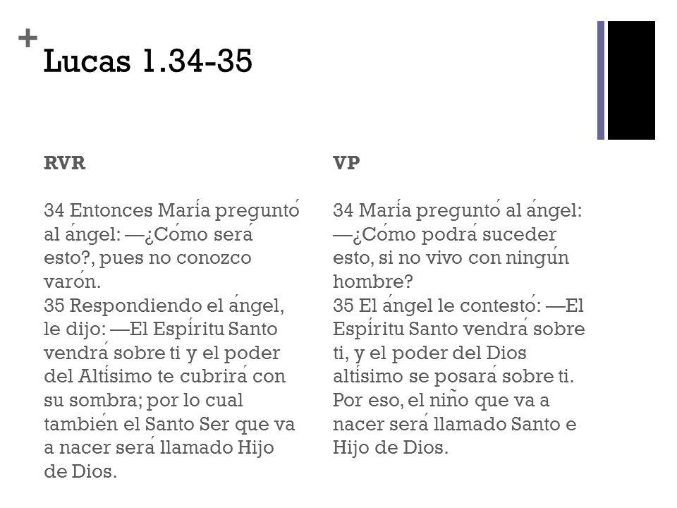 + Lucas 1.34-35 RVR 34 Entonces Maria pregunto al angel: ¿Como sera esto?, pues no conozco varon. 35 Respondiendo el angel, le dijo: El Espiritu Santo