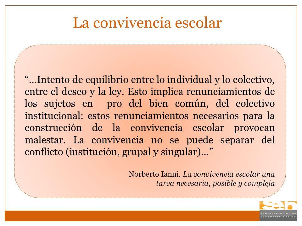 La convivencia escolar …Intento de equilibrio entre lo individual y lo colectivo, entre el deseo y la ley. Esto implica renunciamientos de los sujetos