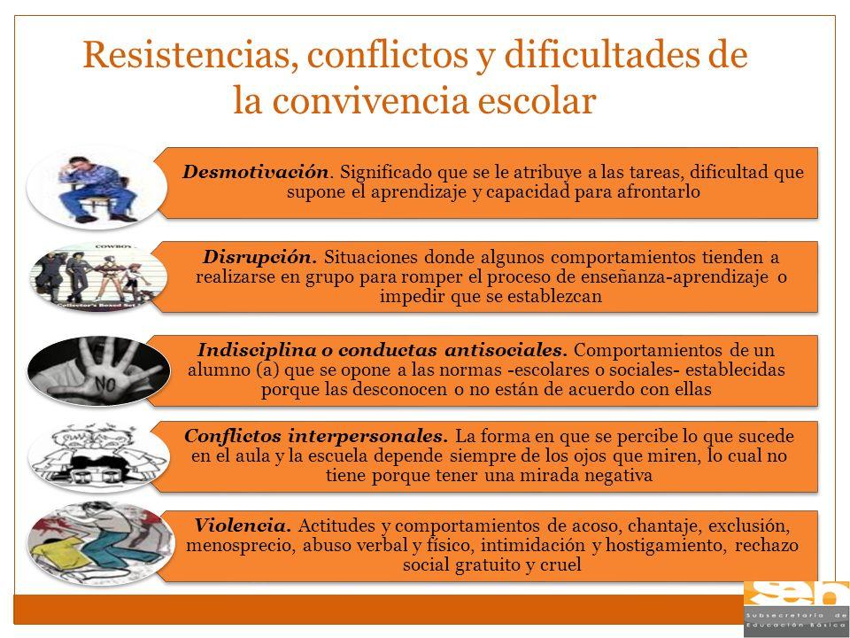 Resistencias, conflictos y dificultades de la convivencia escolar Desmotivación. Significado que se le atribuye a las tareas, dificultad que supone el
