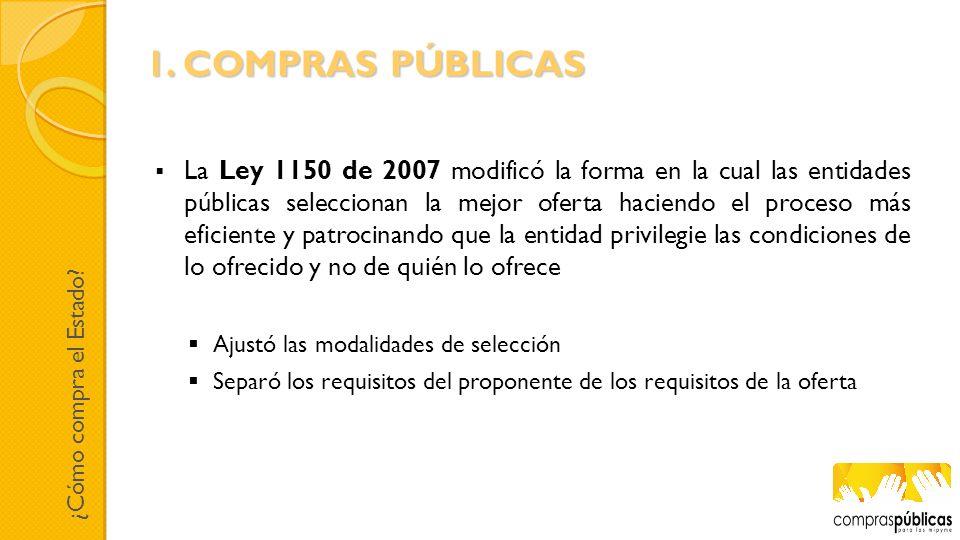 La Ley 1150 de 2007 modificó la forma en la cual las entidades públicas seleccionan la mejor oferta haciendo el proceso más eficiente y patrocinando q
