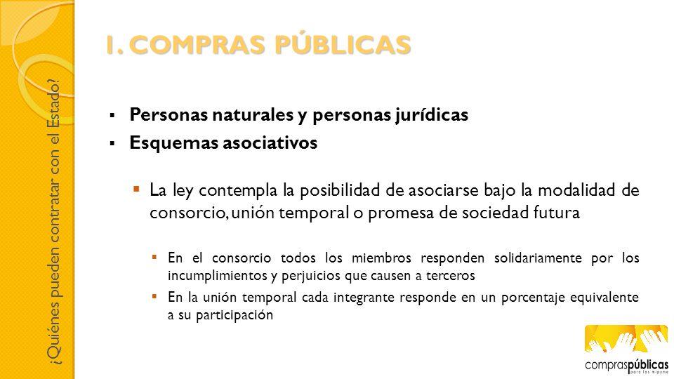 Personas naturales y personas jurídicas Esquemas asociativos La ley contempla la posibilidad de asociarse bajo la modalidad de consorcio, unión tempor