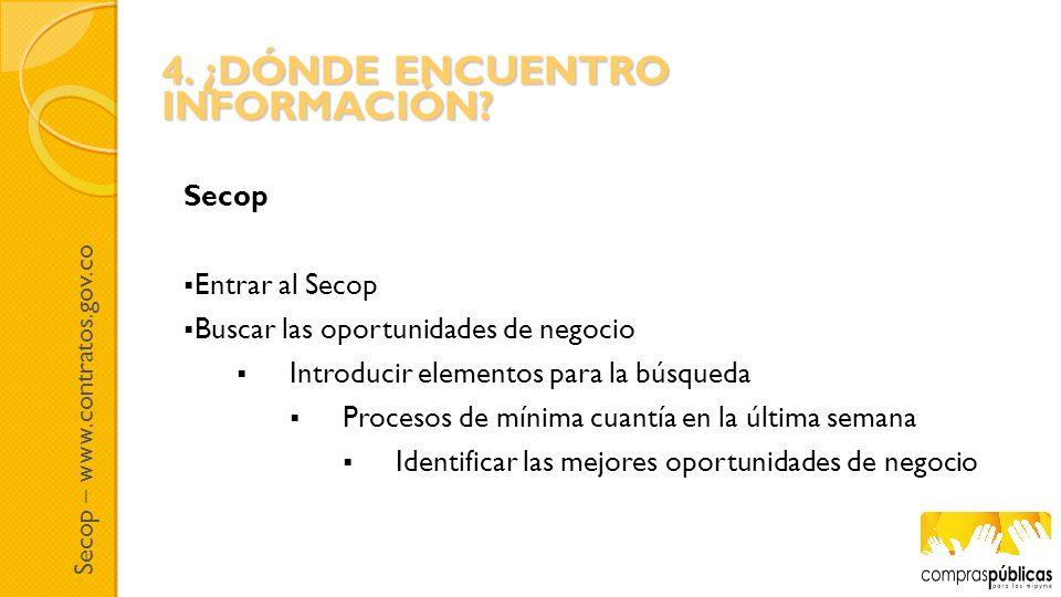 Secop – www.contratos.gov.co Secop Entrar al Secop Buscar las oportunidades de negocio Introducir elementos para la búsqueda Procesos de mínima cuantí