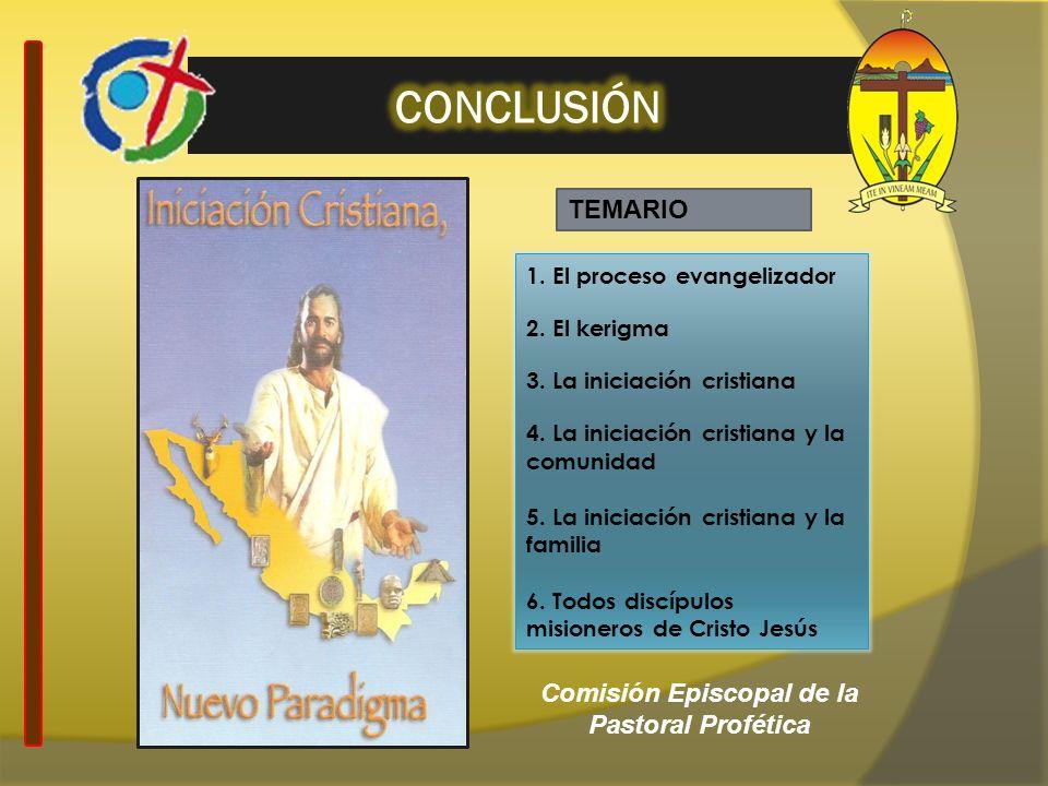 1. El proceso evangelizador 2. El kerigma 3. La iniciación cristiana 4. La iniciación cristiana y la comunidad 5. La iniciación cristiana y la familia