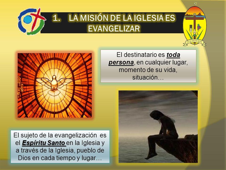 El destinatario es toda persona, en cualquier lugar, momento de su vida, situación… Espíritu Santo El sujeto de la evangelización es el Espíritu Santo