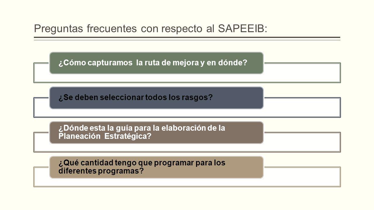 Preguntas frecuentes con respecto al SAPEEIB: ¿Cómo capturamos la ruta de mejora y en dónde?¿Se deben seleccionar todos los rasgos? ¿Dónde esta la guí