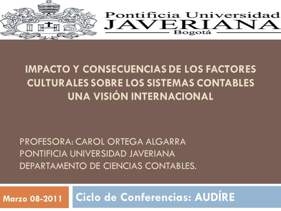 PROFESORA: CAROL ORTEGA ALGARRA PONTIFICIA UNIVERSIDAD JAVERIANA DEPARTAMENTO DE CIENCIAS CONTABLES. Ciclo de Conferencias: AUDÍRE Marzo 08-2011 IMPAC