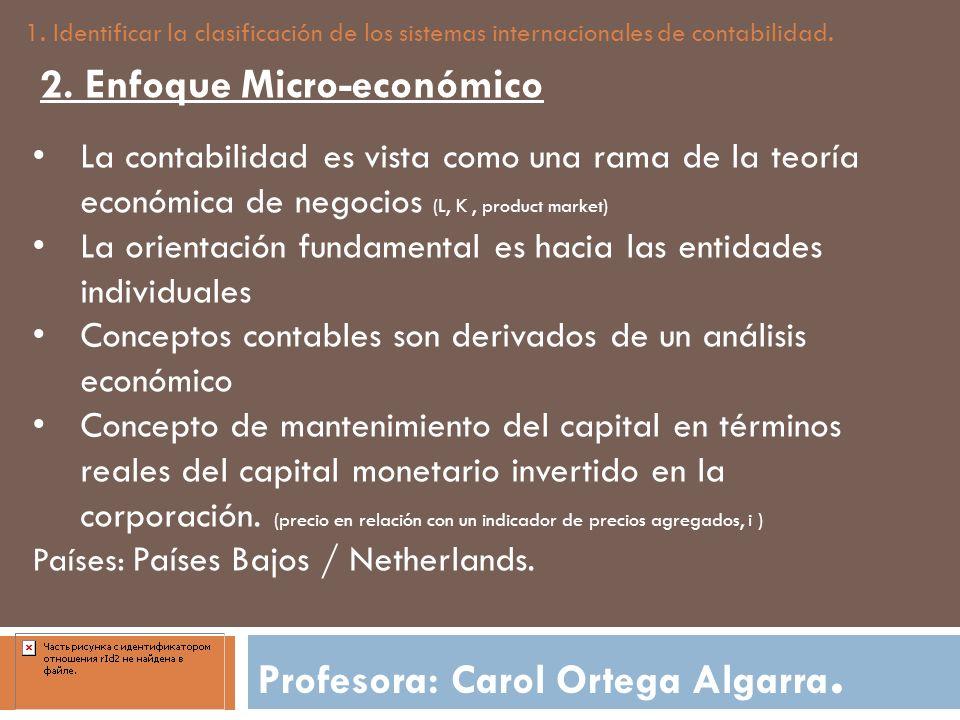 Profesora: Carol Ortega Algarra. 1. Identificar la clasificación de los sistemas internacionales de contabilidad. 2. Enfoque Micro-económico La contab