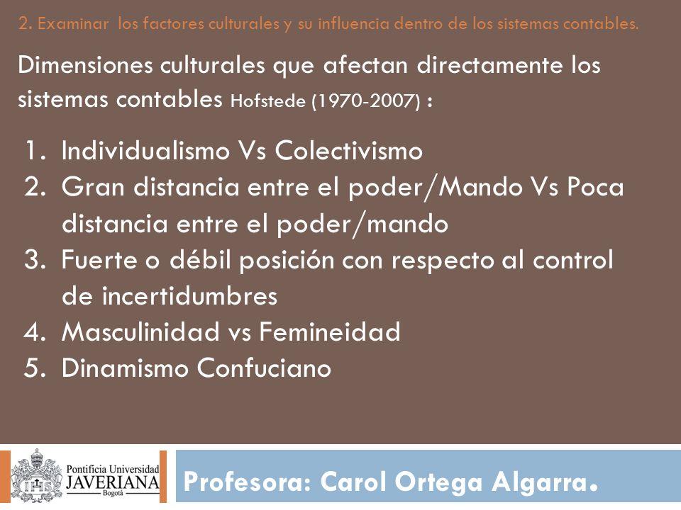 Profesora: Carol Ortega Algarra. 2. Examinar los factores culturales y su influencia dentro de los sistemas contables. Dimensiones culturales que afec