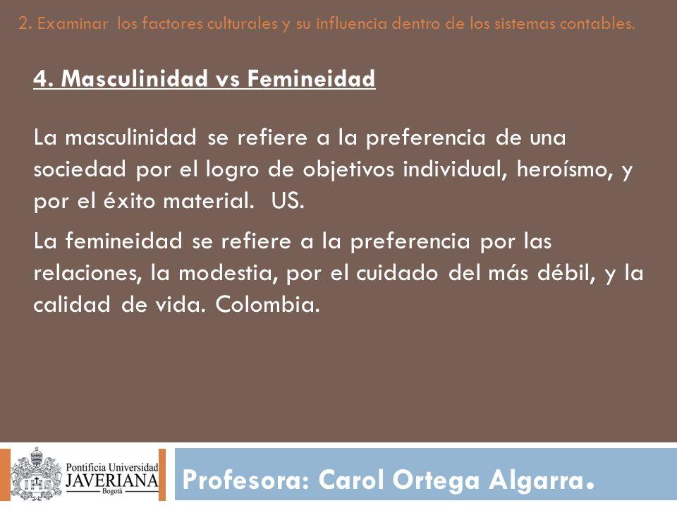 Profesora: Carol Ortega Algarra. 2. Examinar los factores culturales y su influencia dentro de los sistemas contables. 4. Masculinidad vs Femineidad L