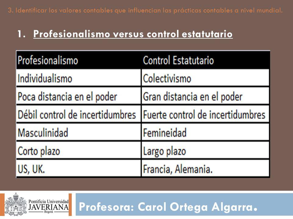 Profesora: Carol Ortega Algarra. 3. Identificar los valores contables que influencian las prácticas contables a nivel mundial. 1.Profesionalismo versu