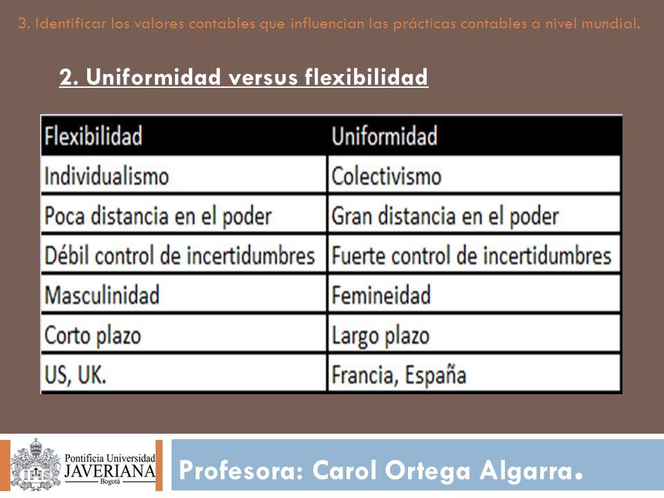 Profesora: Carol Ortega Algarra. 3. Identificar los valores contables que influencian las prácticas contables a nivel mundial. 2. Uniformidad versus f