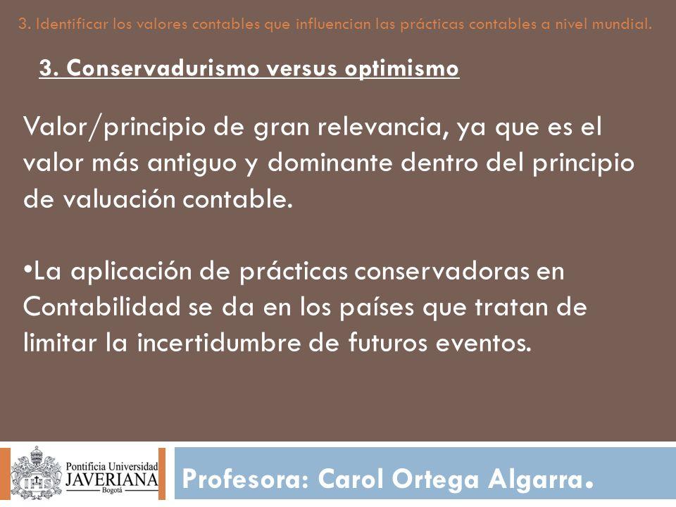 Profesora: Carol Ortega Algarra. 3. Identificar los valores contables que influencian las prácticas contables a nivel mundial. Valor/principio de gran