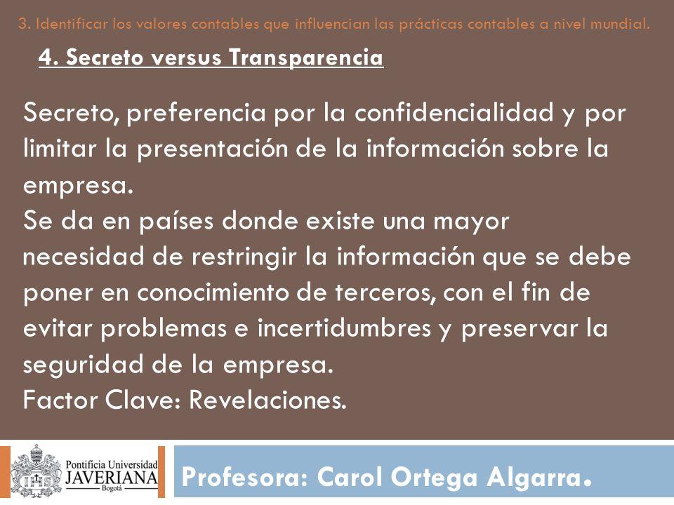 Profesora: Carol Ortega Algarra. 3. Identificar los valores contables que influencian las prácticas contables a nivel mundial. Secreto, preferencia po