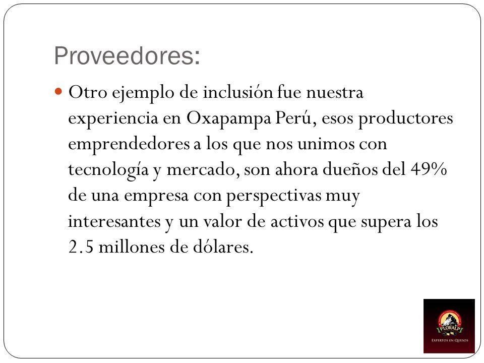 Proveedores: Otro ejemplo de inclusión fue nuestra experiencia en Oxapampa Perú, esos productores emprendedores a los que nos unimos con tecnología y