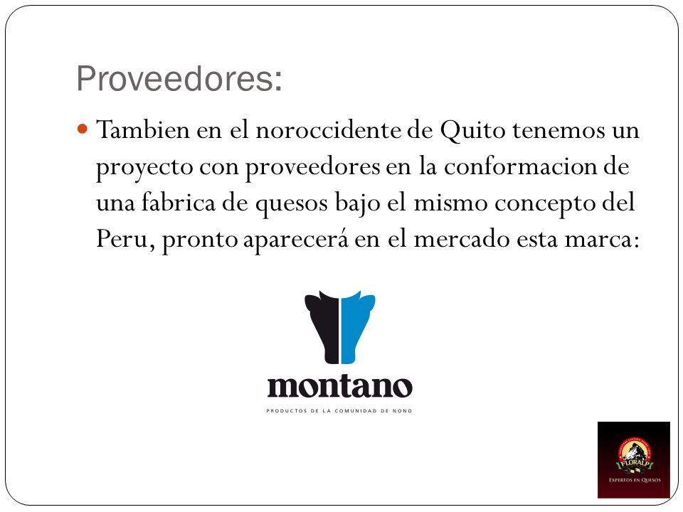 Proveedores: Tambien en el noroccidente de Quito tenemos un proyecto con proveedores en la conformacion de una fabrica de quesos bajo el mismo concept