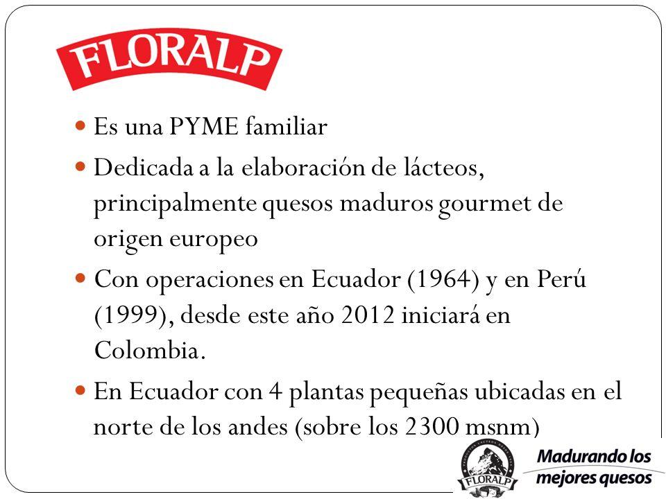 Es una PYME familiar Dedicada a la elaboración de lácteos, principalmente quesos maduros gourmet de origen europeo Con operaciones en Ecuador (1964) y
