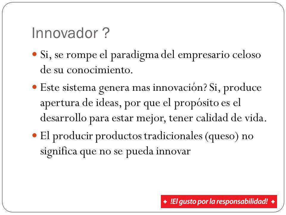 Innovador ? Si, se rompe el paradigma del empresario celoso de su conocimiento. Este sistema genera mas innovación? Si, produce apertura de ideas, por