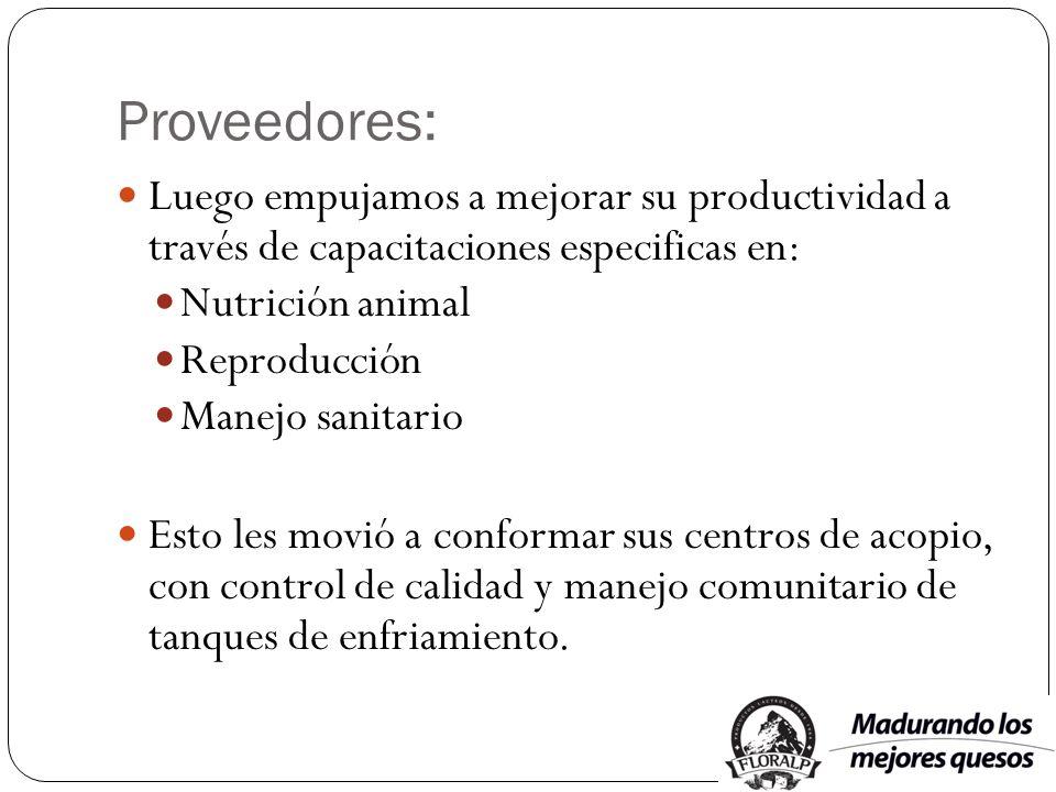 Proveedores: Luego empujamos a mejorar su productividad a través de capacitaciones especificas en: Nutrición animal Reproducción Manejo sanitario Esto