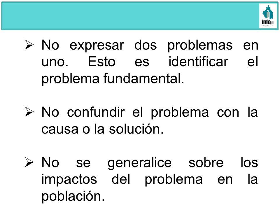 No expresar dos problemas en uno. Esto es identificar el problema fundamental. No confundir el problema con la causa o la solución. No se generalice s